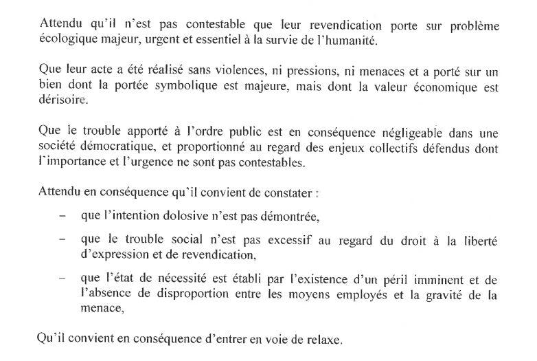 Extrait du jugement de la relaxe de Valence – 13 novembre 2020